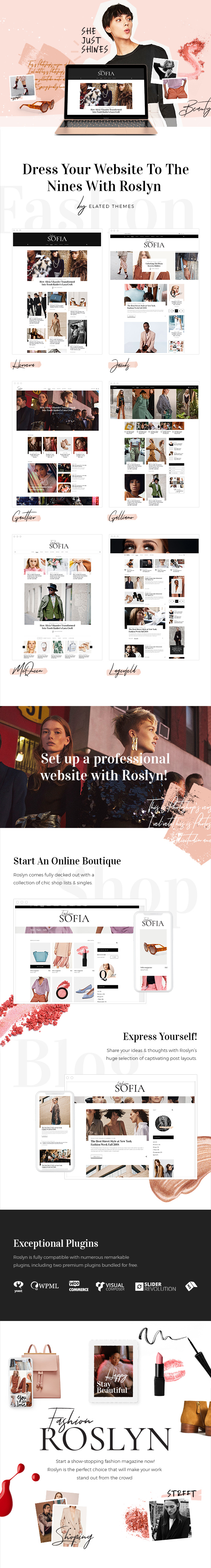 WordPress theme Roslyn - A Fashion and Lifestyle Theme for Bloggers and Magazines (News / Editorial)
